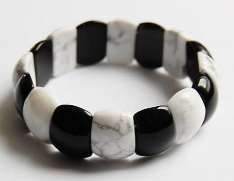 Edelstein-Armband Nail, Magnesit/Onyx, 12 x 18 mm