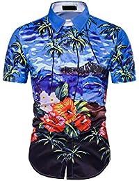 Yacun Hombres Camisas Hawaianas Cartoon Botón Casual Beach Aloha Tops b1rriZGZ4A