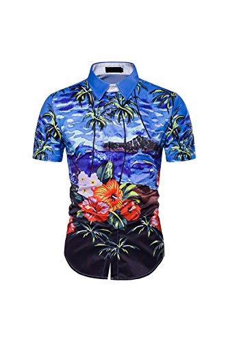 aiihemden Palme Button Ausgefranste Aloha Blue M (Vater Sohn Halloween Kostüm)