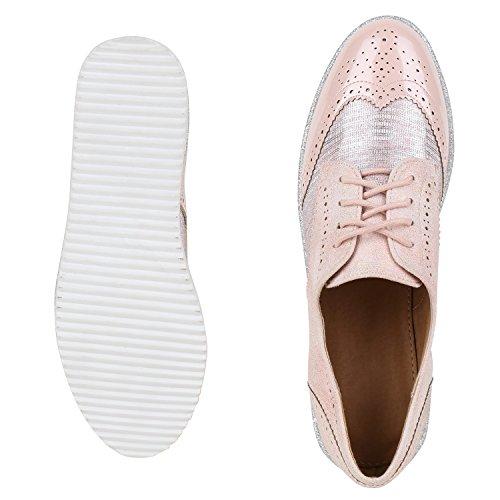 Damen Halbschuhe Dandy Style Brogues Profilsohle High Fashion Jennika Rosa Metallic