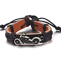 Men Leather Bracelet with Harley motorbike