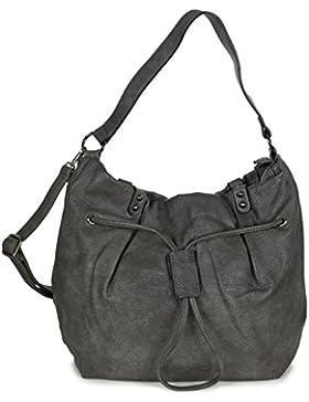 L&S Collection Damen Beuteltasche Hobo Bag Umhängetasche groß PU Kunstleder (42 x 32 x 19 cm LxHxB)