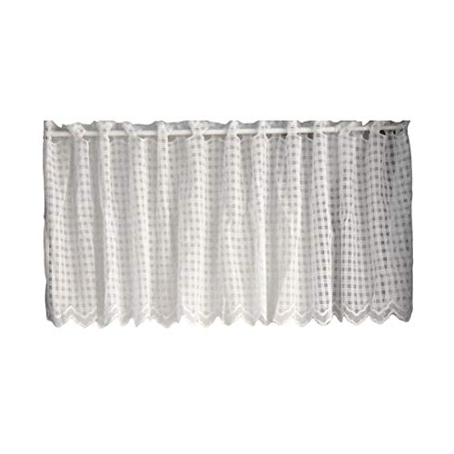 IMIKEYA European White Lattice Short Curtain Coffee