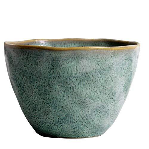MLMHLMR Bol en céramique rétro Vert pâtes émaillées Plateau de céréales Assiette à Salade de Fruits Couverts 15x10.3cm Bol