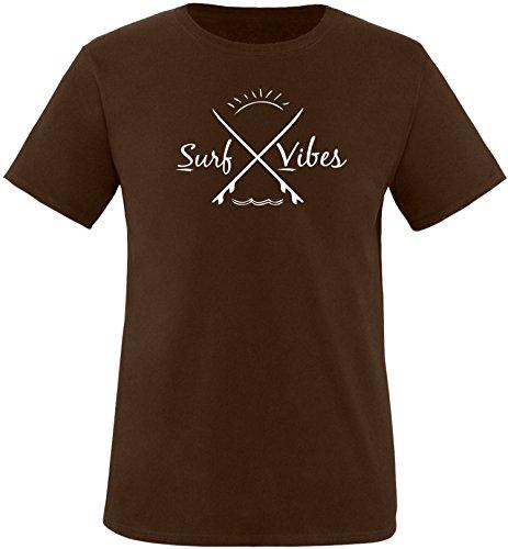 EZYshirt® Surf Vibes Herren Rundhals T-Shirt Braun/ Weiß