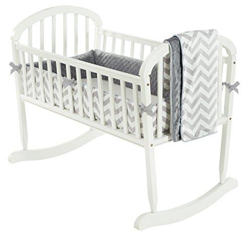 Baby Doll Minky Chevron Cradle Bedding Set, Grey by Baby Doll Bedding