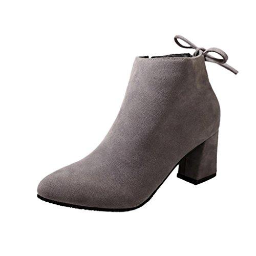 taottao Winter Frauen Hochhackige Martin Stiefel Schnürschuh Stiefelette Low Wedge Schuhe Outdoor Beute STILVOLL und Street Snap Plattform Stiefel, grau, 37 (Pelz-knie-boot)