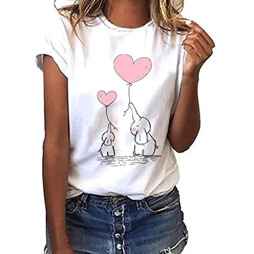 CUTUDE Damen T Shirt Bluse Kurzarm Sommer Frauen Plus Size Elefant Gesture Print Kurzarm Weste Oberteil Top (Weiß, X-Large) (Gold Candy Cup O)