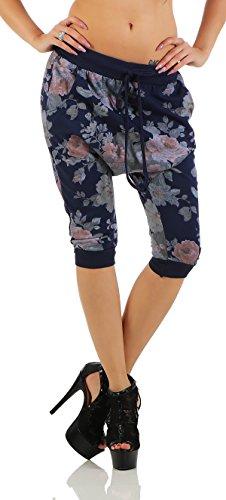 Shirtella 136 Damen Capri Hose Haremshose Ballonhose Pluderhose Pumphose Aladinhose Sommerhose Blumen Print floral Baggy Pants 3/4 Blau 3/4 Baggy Pants