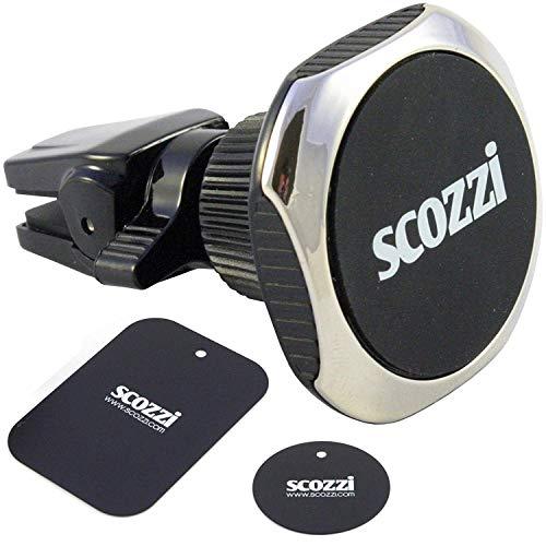 scozzi KFZ Magnet Handy Halterung Lüftung Auto Smartphone Halter magnetisch, auch für runde Lüftungslamellen für die meisten Nokia Mobiltelefone wie z.B. Nokia 8 7 6.1 6 5.1 5 3.1 3 2.1 2 1 Lumia