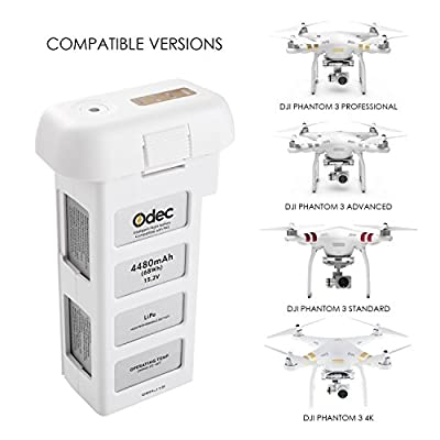 ODEC Phantom 3 Battery, 15.2V 4480mAh LiPo Intelligent Replacement Battery for DJI Phantom 3 Standard, DJI Phantom 3 Professional, DJI Phantom 3 Advanced, DJI Phantom 3 SE and 4K Drones - Upgraded