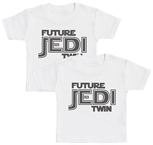 Future Jedi Twins Camiseta para Gemelos bebé niña, Camiseta para Gemelos bebé niño, Regalo para Gemelos niño - 1-2 años Blanco