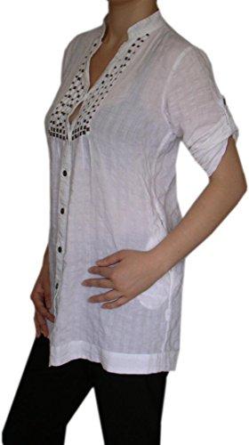 Damen Trachtenbluse Longshirt Tunika Damenbluse Sommer Tunika Weiß