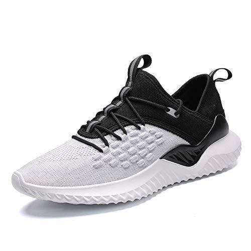 IceUnicorn Herren Damen Laufschuhe Turnschuhe Straßenlaufschuhe Gym Sportschuhe Fitness Atmungsaktiv Joggen Schuhe Freizeit Sneaker(1907/Weiß, 43EU) -