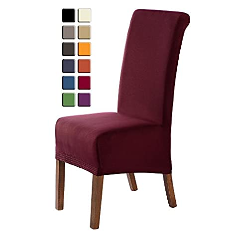 SCHEFFLER-HOME Emma Chaircovers 2 pieces, Stretch Chair Cover, Bi-elastic modern Slipcover, Decor Lycra fabric Protective Cover with elastic band, universal nosefitting by spandex, elastic Span-Cover, Possible seat height coverage 20-24 cm -
