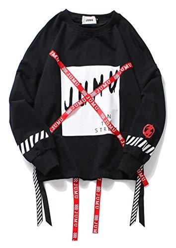 PIZOFF Unisex Hip-Hop Coole Sweatshirts - Langarm Training Oversized Übergroß Straße Stil Band Design,Aa057-black,XL