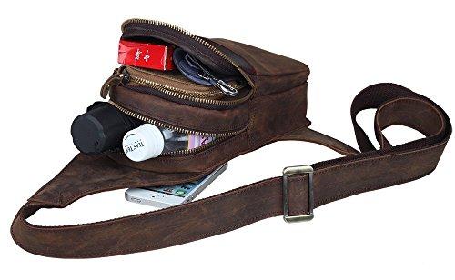 Modelshow Herren Echtes Leder Daypacks Tasche Handtasche Umhängetasche Brusttasche (groß) klein