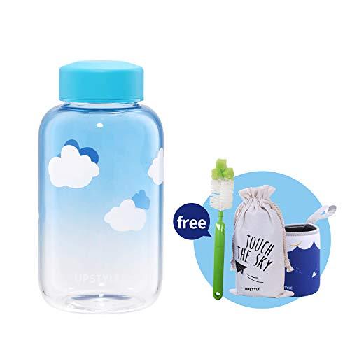 UPSTYLE Eco Glas Wasser Flasche Cute BPA-frei Tragbare Sports Flasche Wide Mouth auslaufsicherer Deckel mit Sleeve Trinken Saft Flasche für Entsaften/Smoothies/Essential Öl, 600ml Sky2