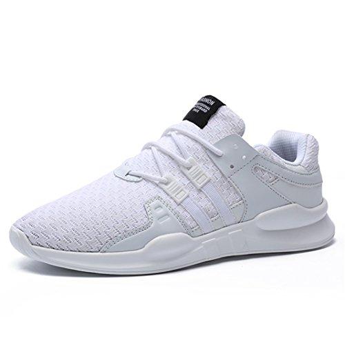 SITAILE Herren Sportschuhe Atmungsaktiv Gym Turnschuhe Leichtgewicht Laufschuhe Lace Up Freizeitschuhe Trainer Outdoor Sneaker Shoes, Weiß, 46 EU -