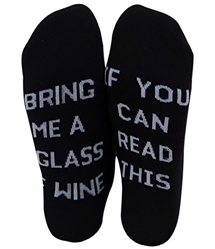 Chalier IF YOU CAN READ THIS BRING ME A GLASS OF WINE Socken Lustige Unisex Damen Mann Socken Neuheit Baumwolle Crew Socken MEHRWEG -
