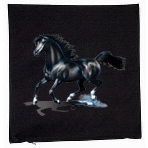 Black Horse Kissen (Kissen mit Innenkissen - Black Horse - Geschenk Pferdefreund - mit 40x40cm - in schwarz : ))