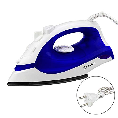Formulaone Mini Plancha de Vapor Plancha eléctrica Plancha de Vapor eléctrica con 3 Engranajes de teflón Suela de Mano Flatiron para Ropa - Azul y Blanco