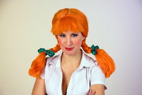 Festartikel Müller Karneval Damen Perücke orangene Zöpfe als verrücktes Mädchen