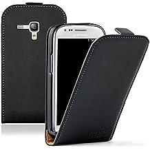 Membrane Negra Funda de Cuero para Samsung GT-i8190 Galaxy S3 SIII Mini - Flip Case Cover + 2 Protectores de Pantalla