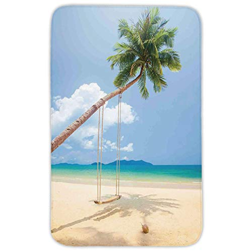 Rectangular Area Rug Mat Rug,Ocean,Photo of a Tropical Island with Coconuts Palm Trees and a Swing Beach Home Decor Decorative,Cream Blue Green,Home Decor Mat with Non Slip Backing,31.5 X 19.68 Inch (Foam Frames Halloween)