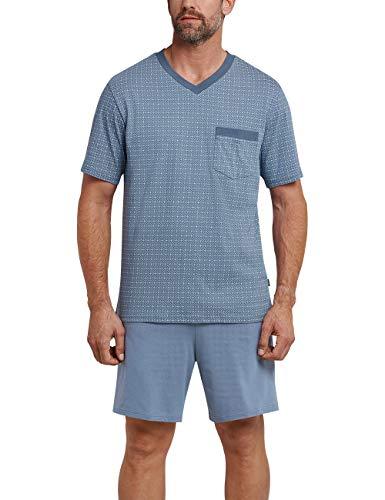 Schiesser Herren Anzug kurz' Zweiteiliger Schlafanzug, Blau (Indigoblue 824), Large (Herstellergröße: 052) -