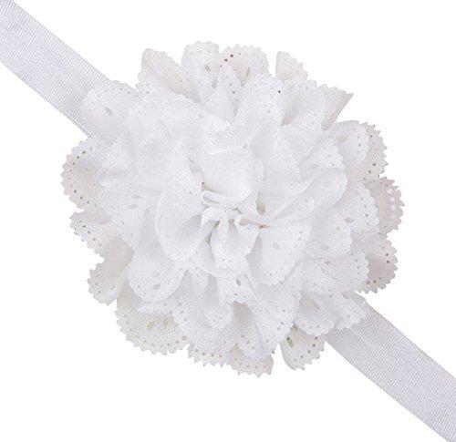 Mesh Flower Eyelet Baby Girls Elastic White Headband Kids Head Accessories Hairband Princess Hair Band