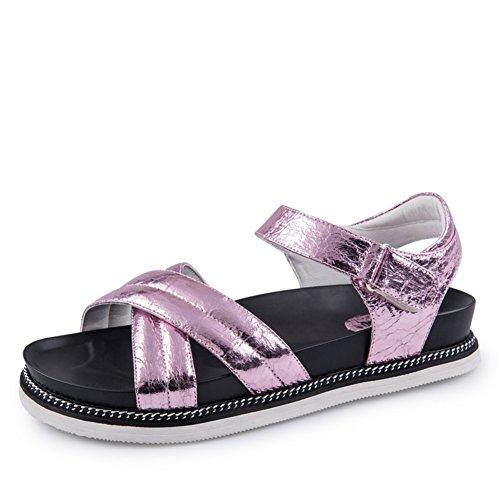 Estate,flat,sandali tacco medio/signora,velcro,sandali-A Lunghezza piede=24.3CM(9.6Inch)