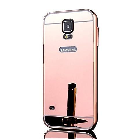 Sunroyal Samsung Galaxy S5 S V I9600 / S5 Neo Miroir Retour Case Ultra mince Coque Etui Housse Aluminium Métal Rim Thin Effet Mirror Réflexion Métallique Hard Cover PC Skin de Protection Bumper - Rose
