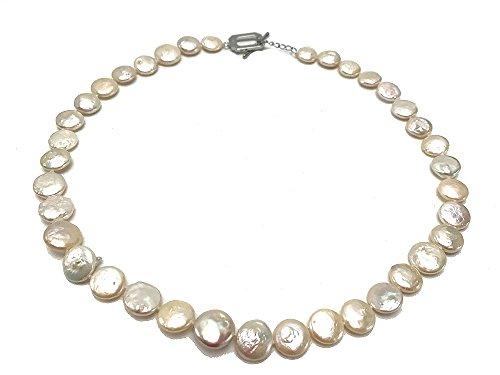 Macht Elf Kostüm - jyx Classic 11-12mm Süßwasserperle Weiß Coin Halskette 44,5cm