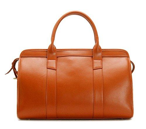 Xinmaoyuan Männer'S Handtaschen Männer Gepäck Tasche Handtasche Diagonal Paket große Kapazität Leder Reisetasche, Orange Orange