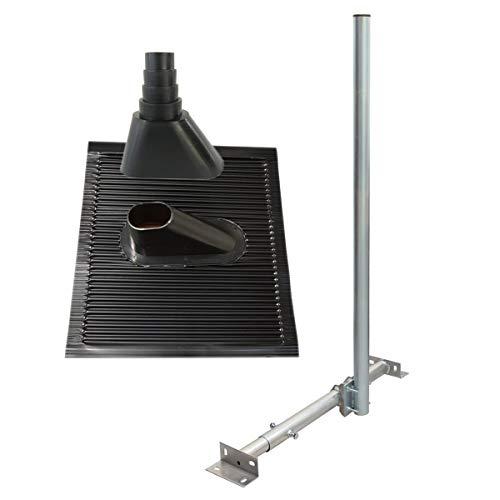 PremiumX Basic X120-48 SAT TV Dachsparrenhalter 120cm Mast 48mm Dach-Sparren-Halterung Kabeldurchführung für Satelliten-Antenne Satellitenschüssel | Dachabdeckung ALU-Ziegel Manschette schwarz - Dach-antenne-tv