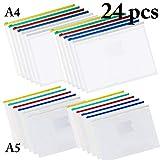 Pochette Plastique A4+A5, Fanspack Pochettes de Classement A4+A5 Multicolor Pochette...