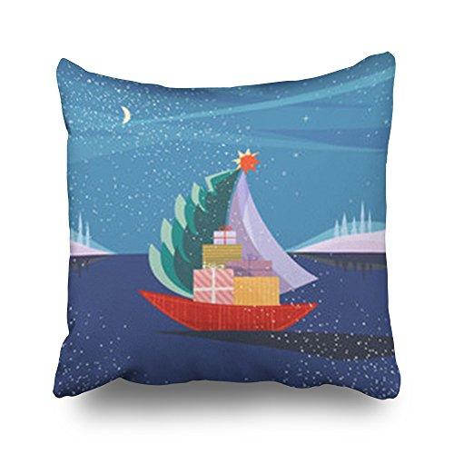 TonTong Kissenbezug, Weihnachtsmotiv, Segelboot, Segelboot, Segeln, Urlaub mit Seefannen, nautische Dekoration, Kissenbezüge, Samt, Multi, 50,8 x 50,8 cm -