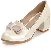 GGX/ Zapatos de mujer-Tacón Robusto-Tacones / Plataforma / Punta Redonda-Tacones-Vestido / Fiesta y Noche-Semicuero-Negro / Beige / Bermellón , beige-us5 / eu35 / uk3 / cn34 , beige-us5 / eu35 / uk3 /