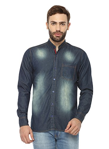 Mens Tinted Fade Vintage Denim Long Sleeve Blue Shirt (Size-42) By Fx Clothing