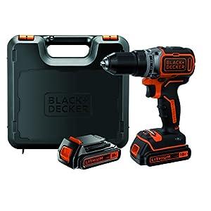 Black+Decker Akku-Bohrschrauber, Bohrmaschine (18 V 1.5Ah, bürstenloses 2-Gang-Getriebe, LED-Arbeitslicht) 1 Stück…