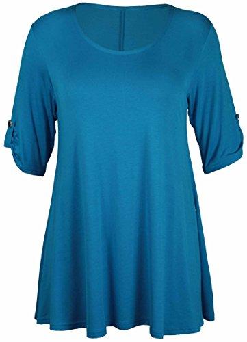 Lange Ärmel Plus Größe T-shirt (Neue Womens Plus Größe Stretch Fit Rundhals Einfarbig Knopf Oberteile Damen Dreiviertel Aufgerollter Ärmel T-Shirt Top - Türkis, 42)