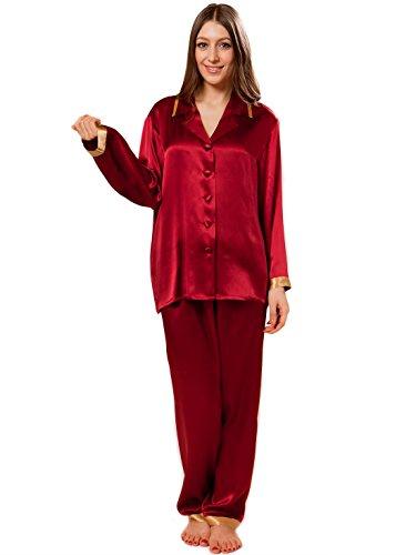 ELLESILK Seide Pyjama Set Langärmlig, Damen Seide Schlafanzug 100% reine Maulbeerseide, Antiallergen, sehr weich, Weinrot/Gold, L (Charmeuse 100% Seide Luxuriöse)
