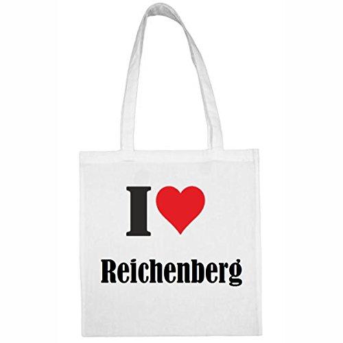 Tasche I Love Reichenberg Größe 38x42 Farbe Weiss Druck Schwarz