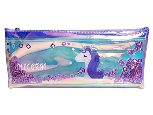 Arishto Unicorn Multipurpose Holographic Pencil Pouch/Case with filled Sequin Water (Purple)