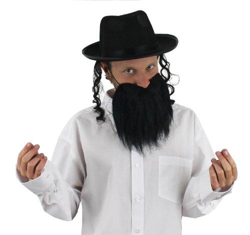 BEHÖR ERHALTBAR IN DEN STÜCKZAHLEN VON    6 STÜCK  12 STÜCK  24 STÜCK  48 STÜCK   UND EINZELN  BEINHALTET::SCHWARZEN BART , SCHWARZEN HUT MIT BEFESTIGTEN SEITEN LOCKEN  IN DER STÜCKZAHL VON 6 STÜCK (Erwachsene Rabbi Kostüme)