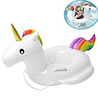 IBanana Baby Float, Children Baby Infant Kids Toddler White Swan Inflatable Pool Float Seat Ring with 2 Handle and Safty String for 1-6 Years Baby