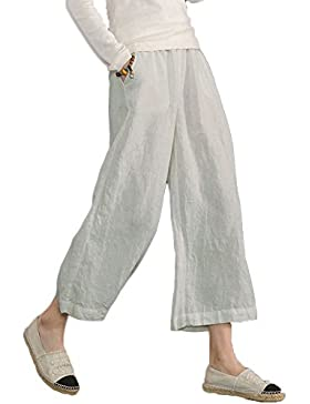 Minetom Mujer Casual Algodón Lino Harem Pantalones Oficina Deportivos Yoga Moda Elegantes Elástico Pantalon Capri...
