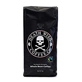 Death Wish Whole Bean Coffee, The World's Strongest Coffee, Fair Trade and USDA Certified Organic