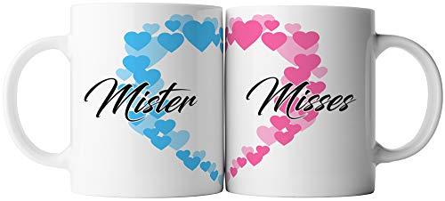 ghostee Tasse 2er Set - Paar Mister & Misses Pärchen Mr Mrs, Aufdruck:Bunt
